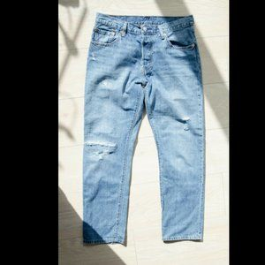 Levi's 501 Blue Straight Cropped Jeans 28 x 28